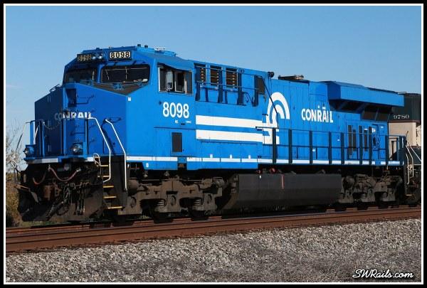 NS 8098, Conrail heritage unit, at Harlem TX