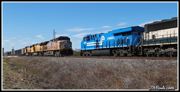 NS 8098, Conrail heritage unit, and UP AC4400CW 5917 at Harlem TX
