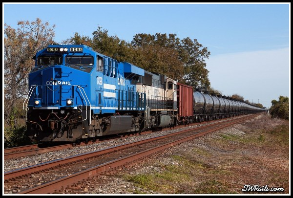NS 8098, Conrail heritage unit. on BNSF oil train at Harlem TX
