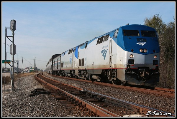 Amtrak P42 23 on train 2, Sunset limited, at Houston TX