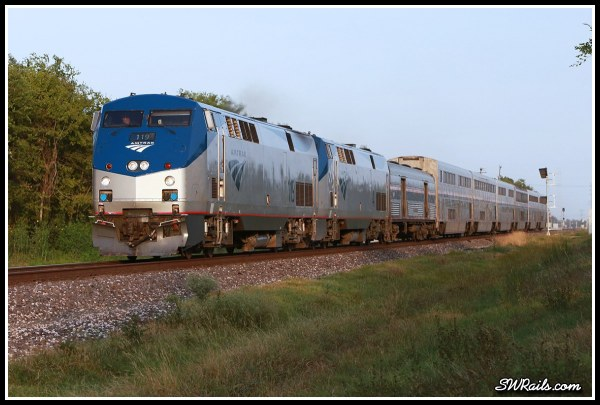 Amtrak P42DC 119 on train #1, the Sunset Limited in Stafford,TX
