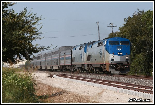 Amtrak P42DC 25 on Sunset Limited at Stafford TX
