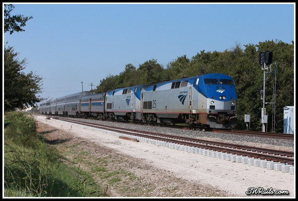 Amtrak P42DC 25 and 76 on Sunset Limited at Stafford TX