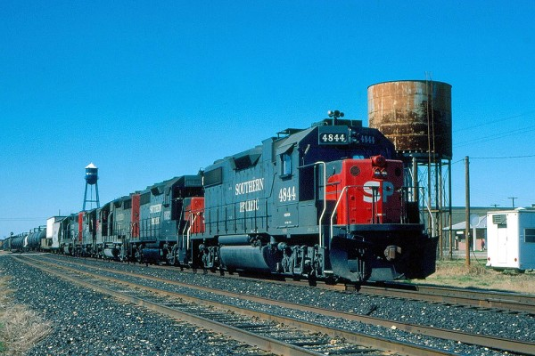 Southern Pacific GP38-2 4844 at Waelder,TX 1985
